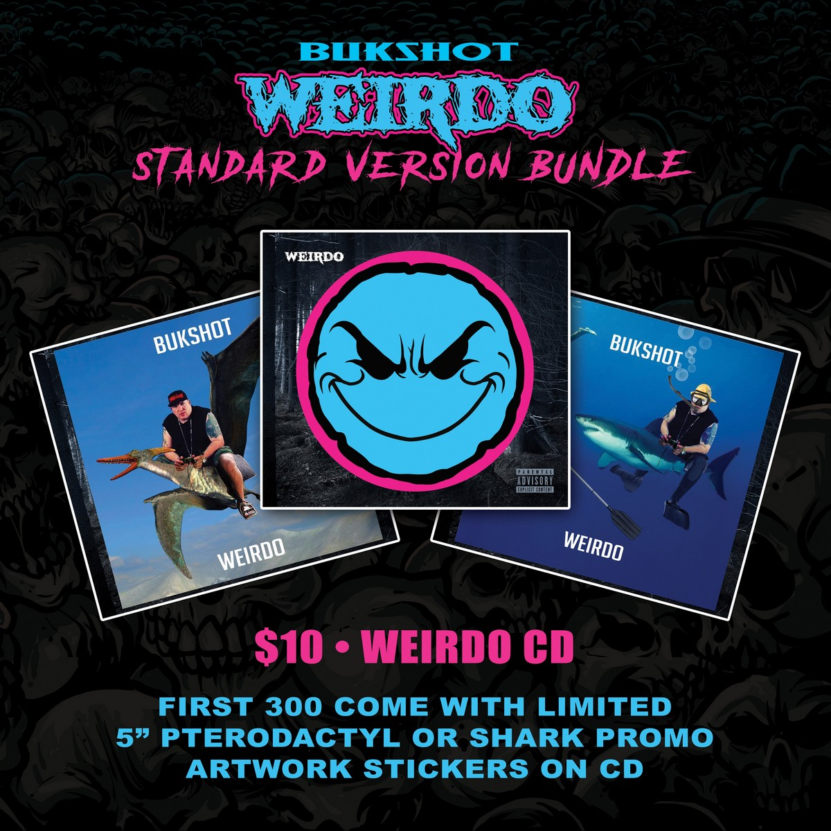 "Bukshot ""Weirdo"" CD With Choice Of Pterodactyl Or Shark Limited 5″ Album Cover Sticker! (Standard Version)"